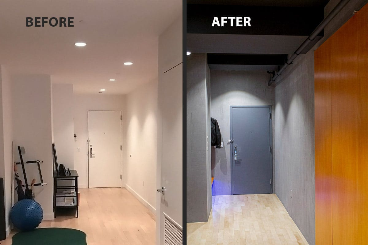 NYC Concrete apartment renovation before and after